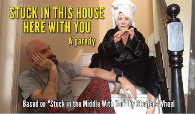 Image of couple on stairs looking bored with text: Stuck in This House Here With You
