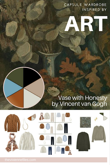 Capsule wardrobe color palette in olive and rust inspired by Art: Vase with Honesty by Vincent van Gogh