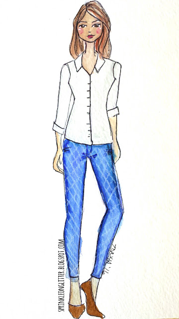 Sprinkle On Glitter Blog// Illustrated Ccapsule Wardrobe- jeans// jeans & button up shirt