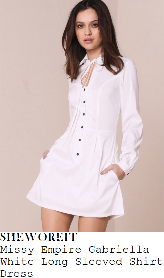 lauren-pope-white-long-sleeve-collared-tie-neck-detail-button-up-shirt-mini-dress-missy-empire-instagram