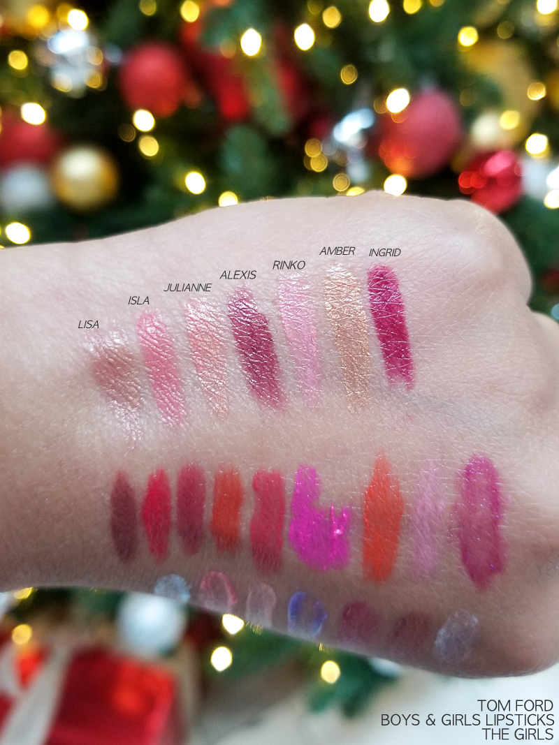 Tom Ford Boys and Girls Lipsticks - Swatches - Lisa - Isla - Julianne - Alexis - Rinko - Amber - Ingrid
