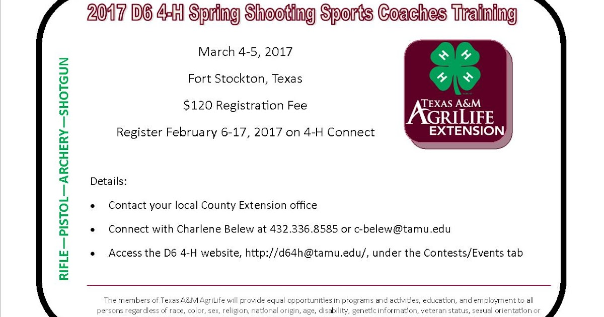 Texas 4-H Practitioners: D6 Offers Spring Shooting Sports Coaches ...