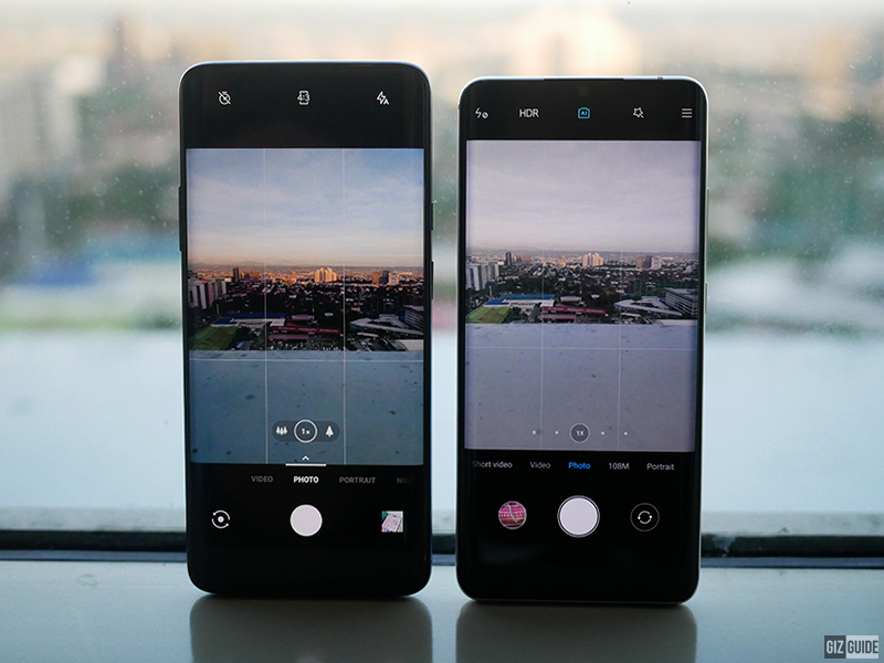 The camera UI of both devices