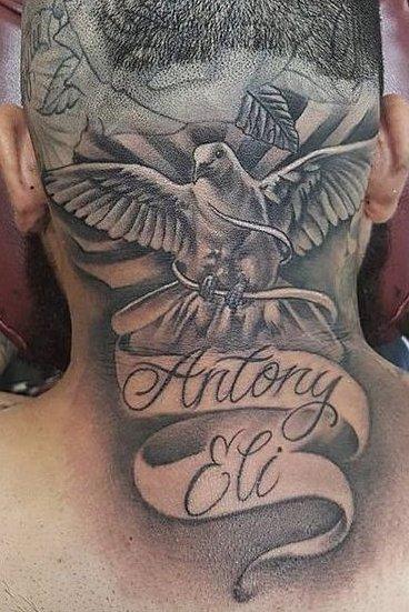Dove Tattoo on Head
