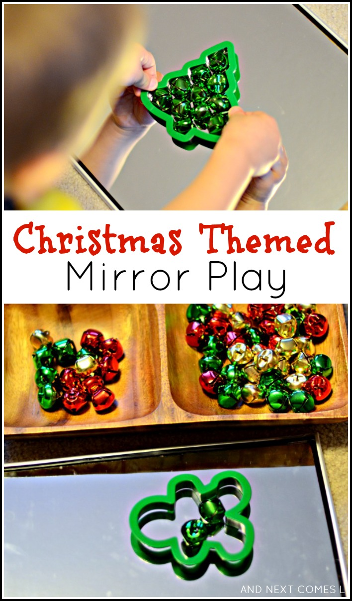 Christmas themed mirror play for toddlers and preschoolers using jingle bells from And Next Comes L