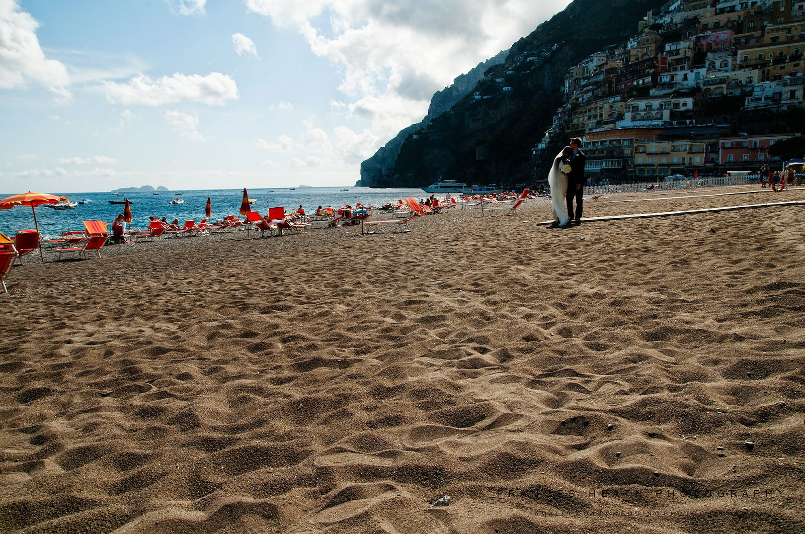 Wedding portrait on Positano beach in Italy