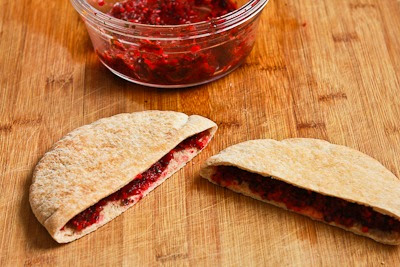 Easy Leftover Turkey Pita Sandwiches with Fresh Cranberry Salsa [KalynsKitchen.com]
