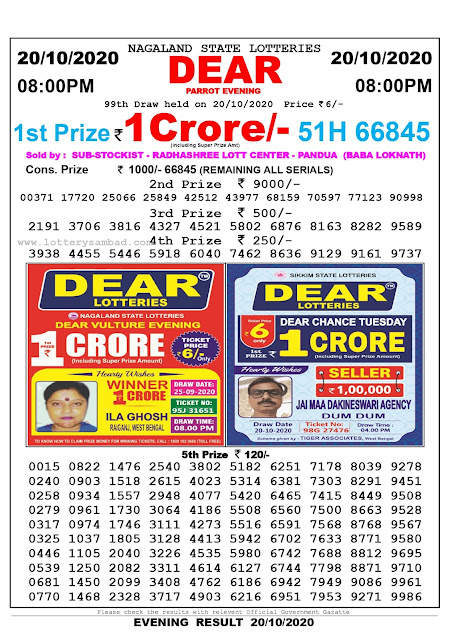 Lottery Sambad 20-10-2020, Lottery Sambad 8 pm results, Nagaland Lottery Results, Lottery Sambad Today Results Live, Night results