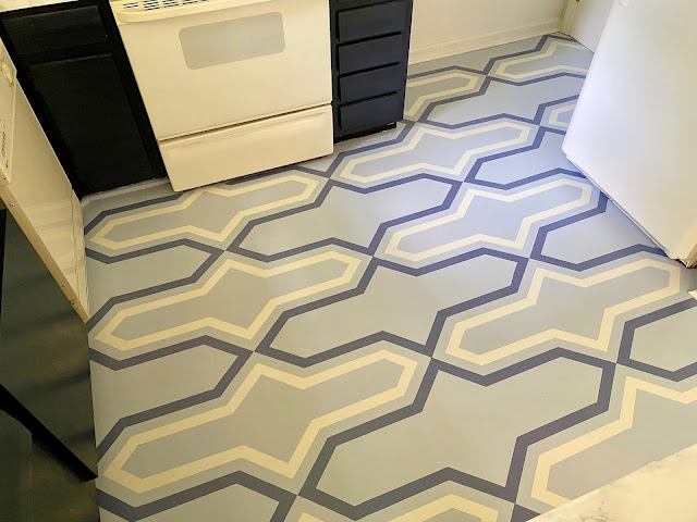 DIY Stencil Painted Laminate Floor