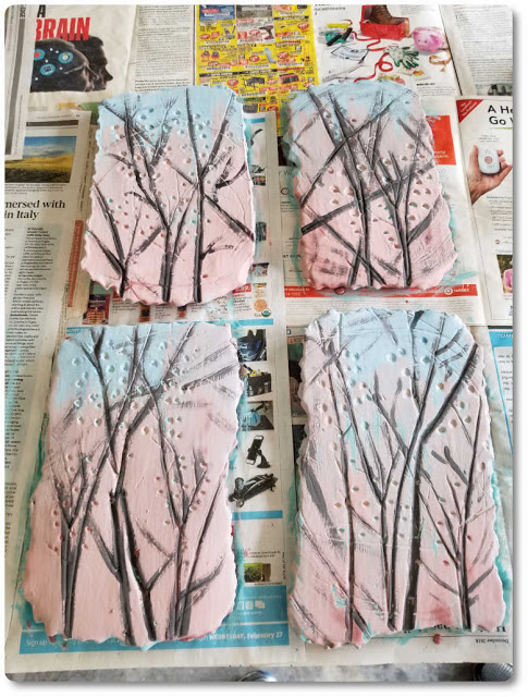 Berry branches have been painted