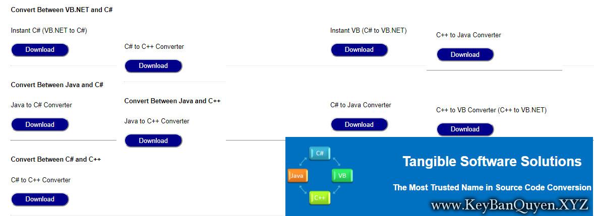 Tangible Software Source Code Converters 2018.10 Premium Editions Full Key, Phần mềm chuyển đổi mã nguồn VB.NET, C #, Java, & C ++,