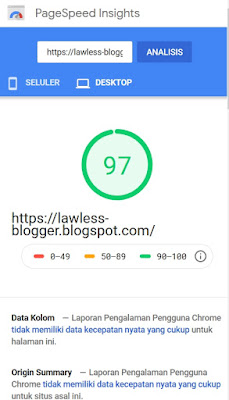 Hasil Uji PageSpeed Insight versi Desktop