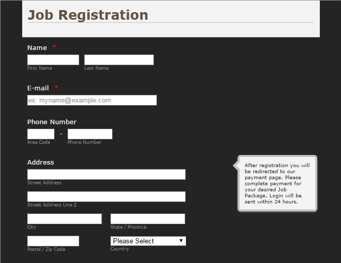 Registration form - Internet proz