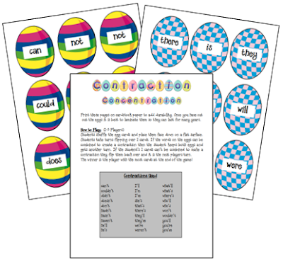 https://www.teacherspayteachers.com/Product/Easter-Contractions-Concentration-Game-124278