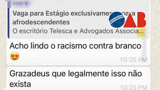 caso racismo advogados oab processo etico