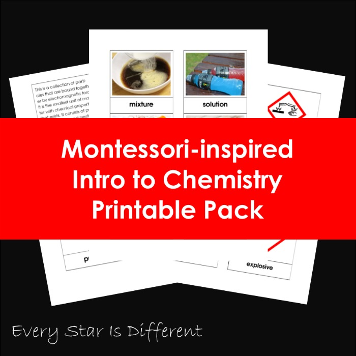 Montessori-inspired Intro to Chemistry Printable Pack
