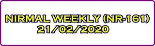 NIRMAL WEEKLY (NR-161) 21-02-2020 Kerala Lottery Result