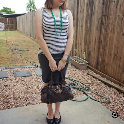 awayfromtheblue Instagram | striped tank grey pencil skirt summer heatwave office outfit green necklace chloe paddington bag