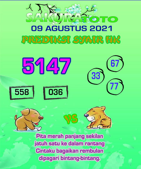 Syair HK Senin 09 Agustus 2021 -