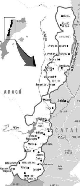 franja, mapa, pobles, ponent, llevant