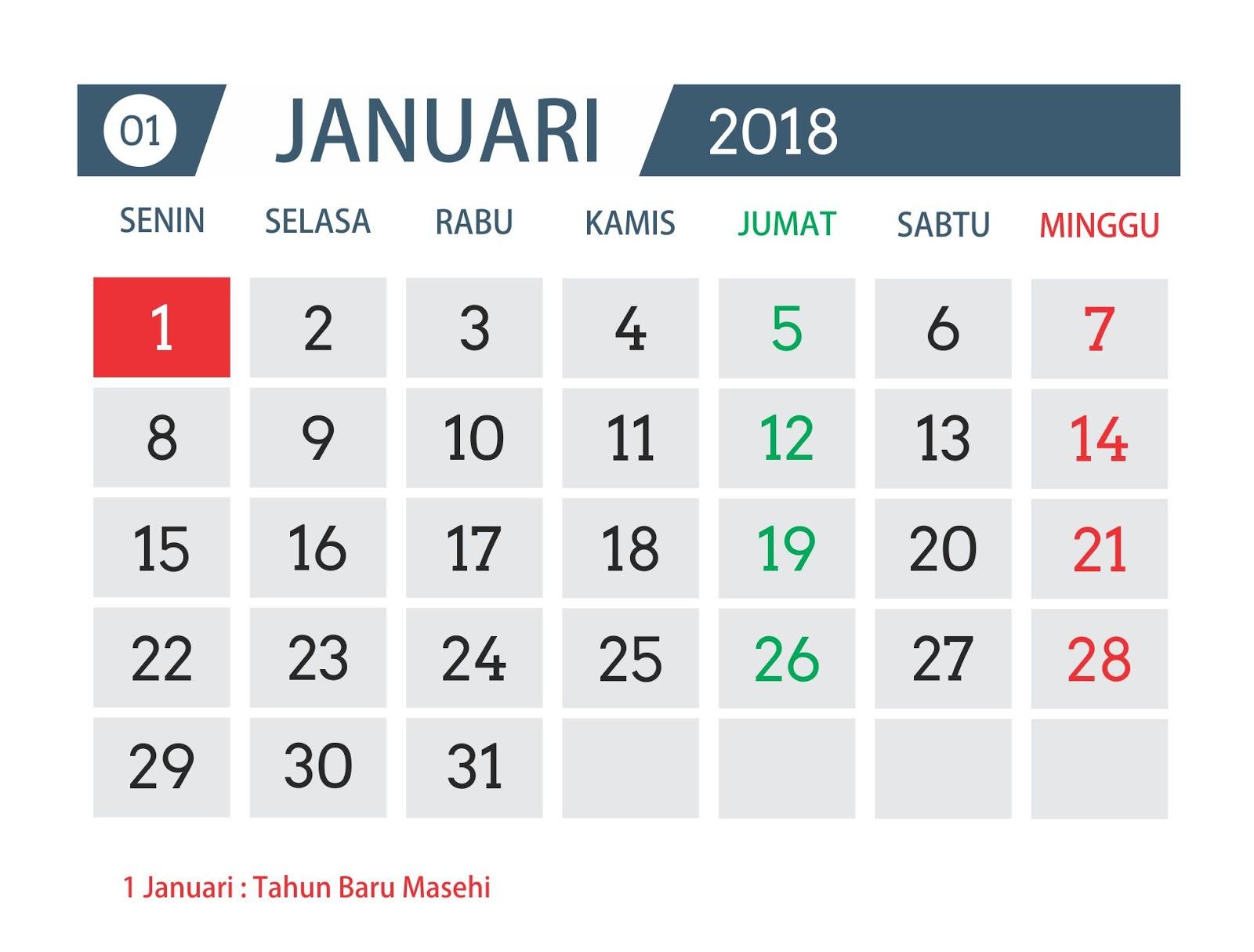 Download Desain Template Kalender Tahun 2018 Asal Tau