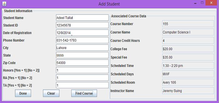Programmer's Place: Student Registration System in java