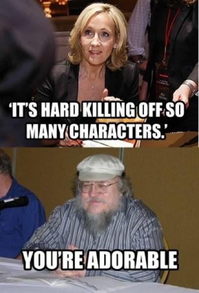 Meme de humor sobre los escritores Rowling y George R. R. Martin