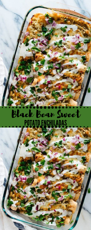Black Bean Sweet Potato Enchiladas #vegan #vegetarian #potato #dinner #recipes
