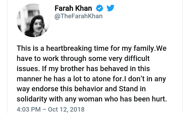 Farah Khan REACTS to sexual allegations sajid khan