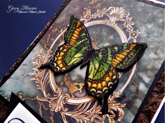 Butterflies Marble a freebie and using premium Paper for digital and hand stamping
