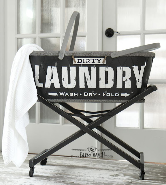 Vintage Laundry Basket On Stand, stenciled makeover, Bliss-Ranch.com