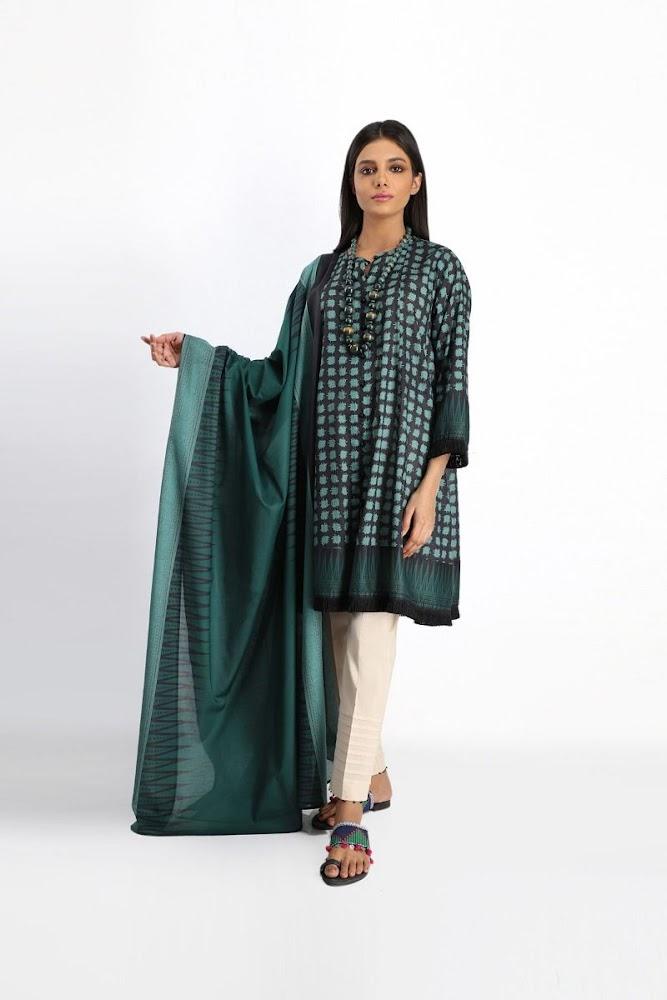 Khaadi green Lawn printed shirt dupatta