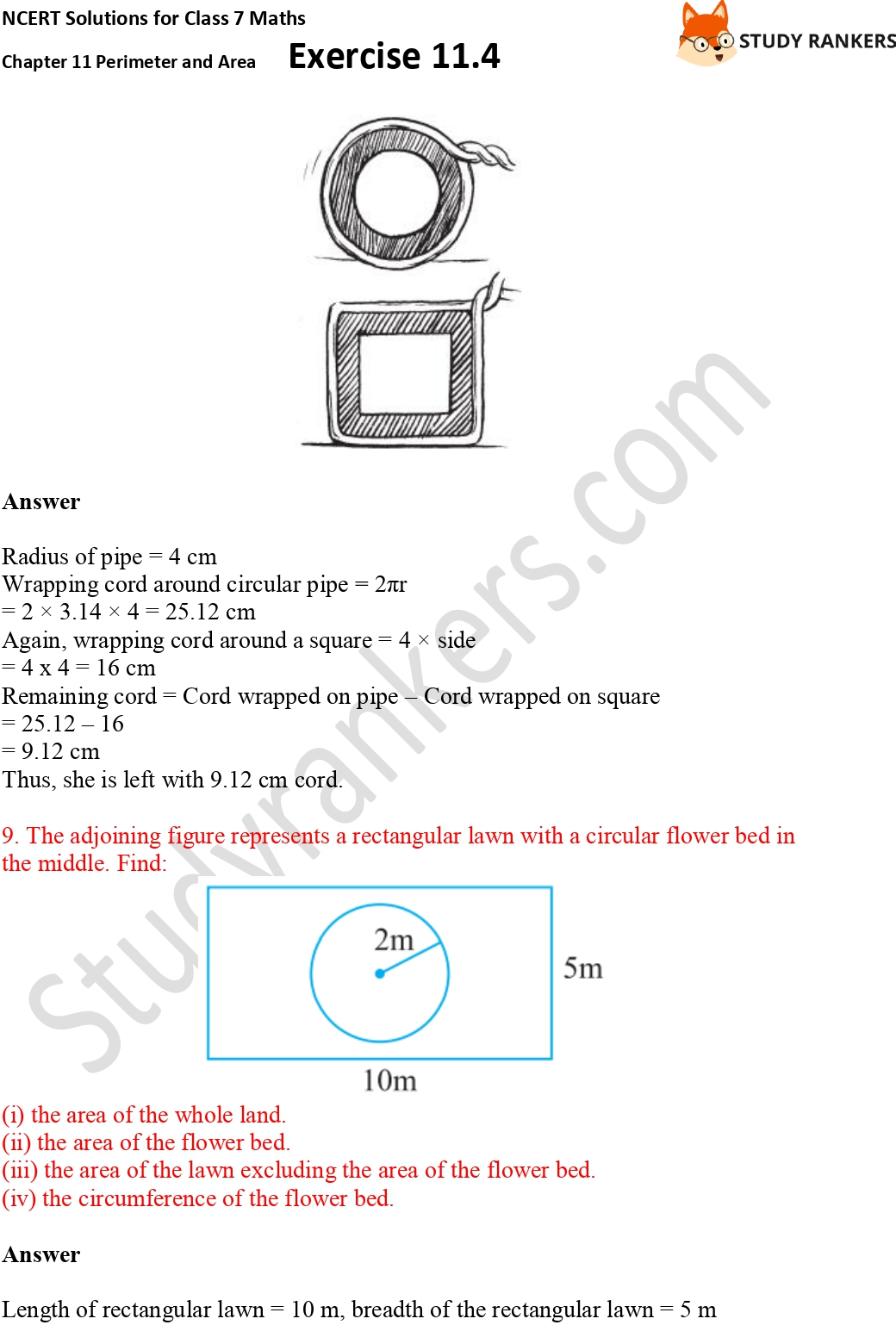 NCERT Solutions for Class 7 Maths Ch 11 Perimeter and Area Exercise 11.4 Part 6
