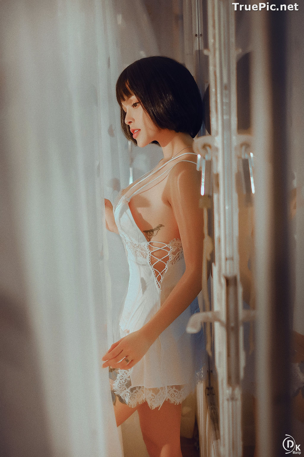 Image Vietnamese Model – Cute Short-haired Girl in White Sexy Sleepwear - TruePic.net - Picture-5