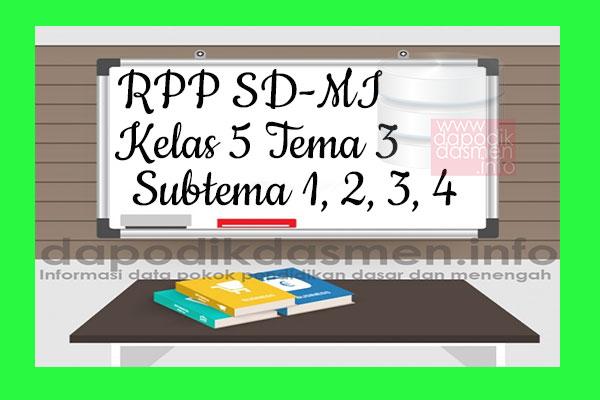 RPP Tematik SD/MI Kelas 5 Tema 3 Subtema 1 2 3 4 Semester 1, Download RPP Kelas 5 Tema 3 Subtema 1 2 3 4 Kurikulum 2013 SD/MI Revisi Terbaru, RPP Silabus Tematik Kelas 5