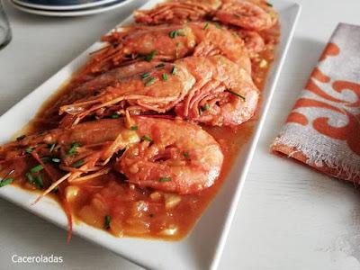 Receta de gambones en salsa de tomate