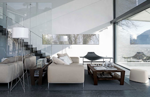 classy contemporary living room with grey sofa and square wooden coffe table