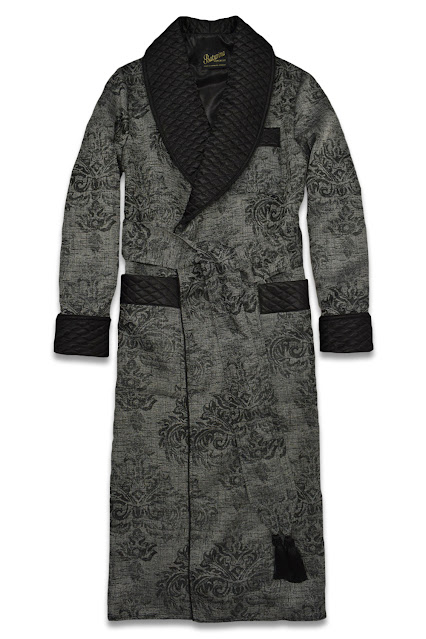 mens black floral silk dressing gown cotton robe smoking jacket quilted