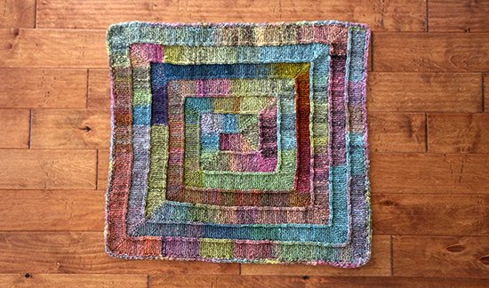Top View of Colorful Ten Stitch Wool Knit Rug