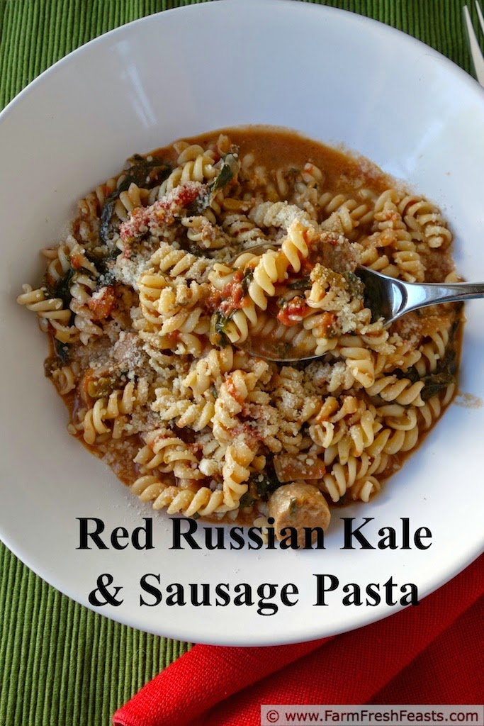 Red Russian kale and turkey sausage flavor a tomato cream sauce in this kid-friendly pasta.