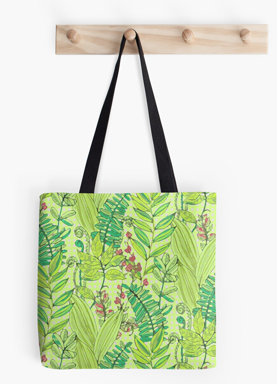 printed tote bag, greenery leaves and flowers pattern at RedBubble