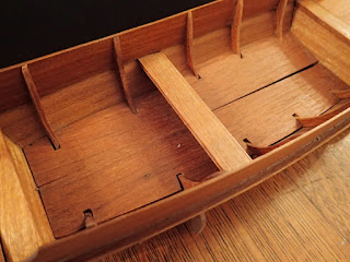 Floorboards, frames on model Thai market boat