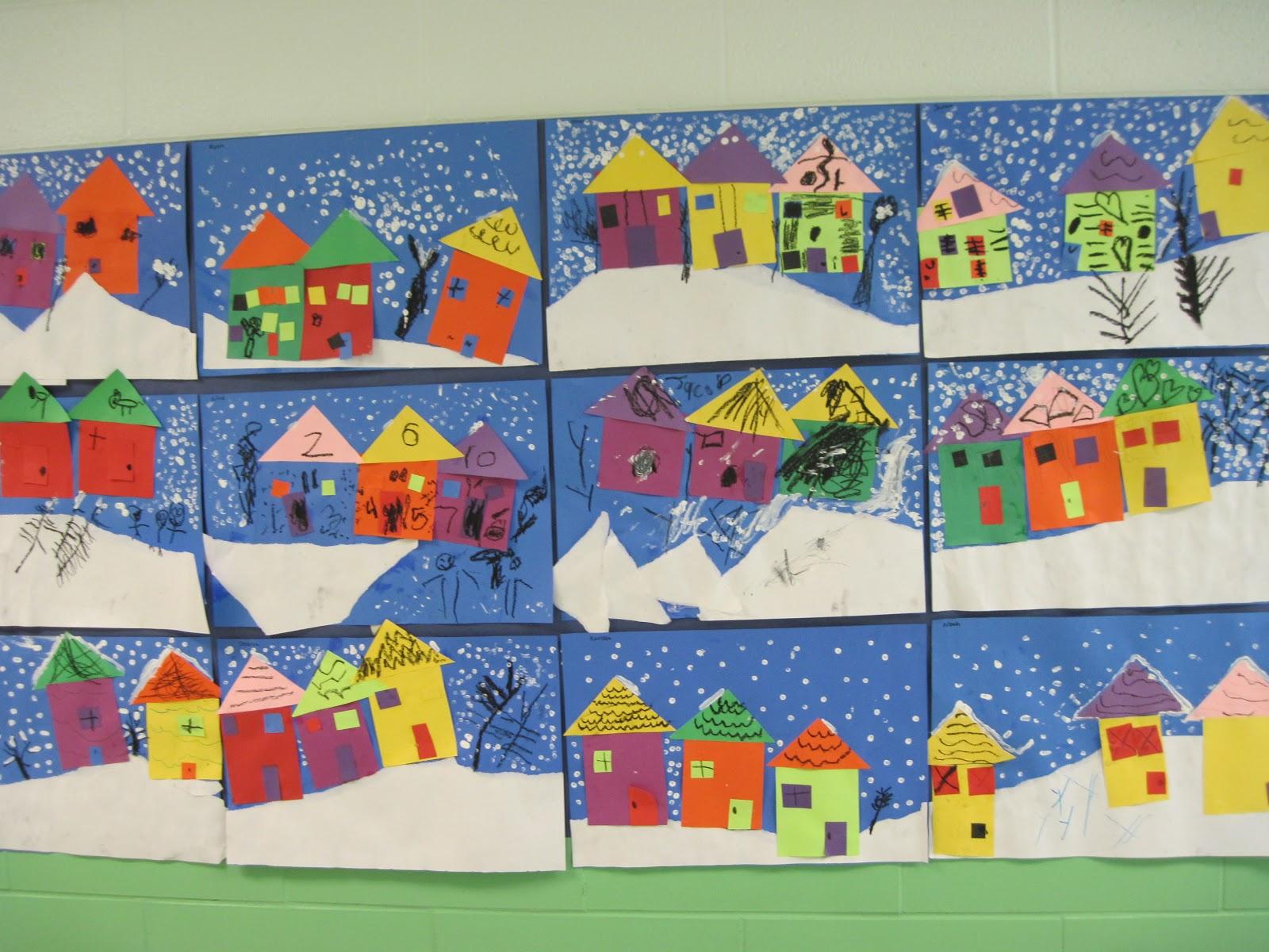 lines dots and doodles winter houses kindergarten. Black Bedroom Furniture Sets. Home Design Ideas
