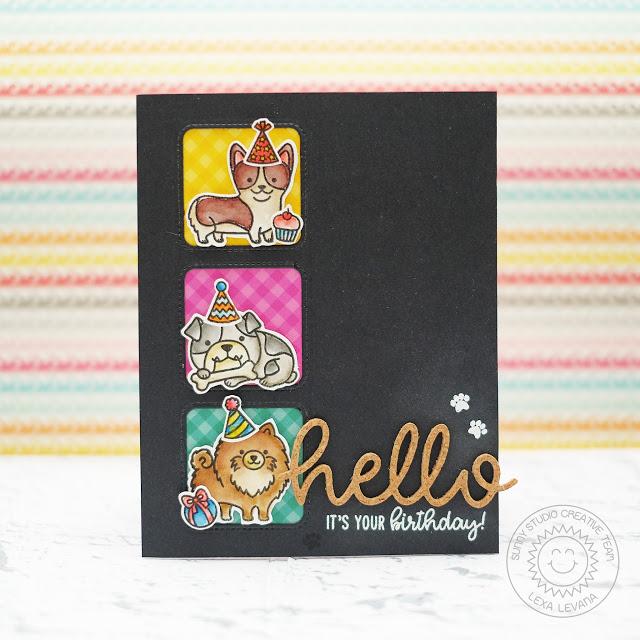 Sunny Studio Stamps: Hello Word Die Party Pups Window Trio Birthday Card by Lexa Levana