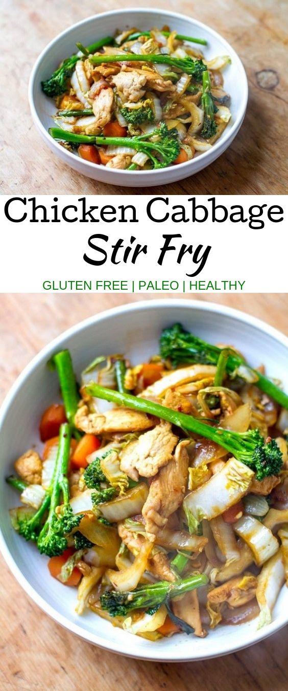 Chicken Cabbage Stir Fry #chickenrecipes #glutenfree #paleo #healthy