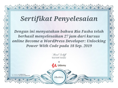 sertifikat penyelesaian kursus wordpress developer di udemy