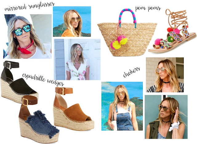 summers hottest trends mirrored sunglasses pom poms espadrille wedges chokers parlor girl