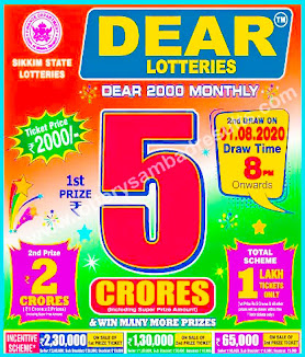Lottery Sambad Dear 2000 Monthly Lottery Results 01-08-2020 Sikkim State Lotteries