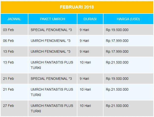Paket Umroh Februari 2018 Arfa