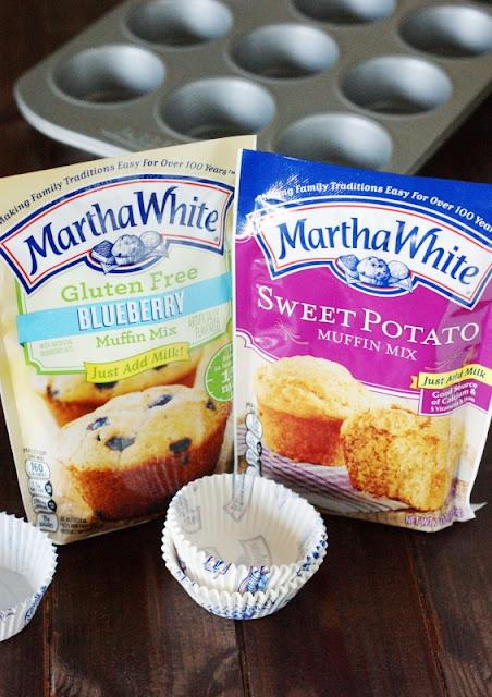 Bourbon-Glazed Sweet Potato Muffins ~ with Martha White mix  #ad  www.thekitchenismyplayground.com
